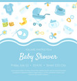 bashower invitation banner template light blue vector image vector image