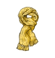 Bright yellow slip knotted winter knitted scarf vector image vector image