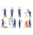 builders in uniform flat characters set vector image