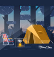 camping tent and bonfire vector image vector image