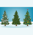 christmas tree set for greeting card invitation vector image vector image