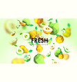 creative background with low poly fruit vector image
