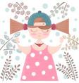 cute beautifu girl - cartoon vector image