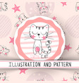 cute cat - cartoon seamless pattern vector image