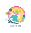 cute turtle on surfboard vector image vector image