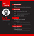 cv resume template with nice typography vector image vector image
