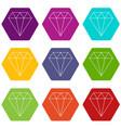 diamond icons set 9 vector image