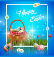 easter eggs box with frame vector image