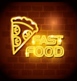 fast food pizza neon label vector image vector image