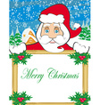 funny Santa Claus holding a frame place for text vector image vector image