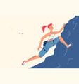 girl climbing on high mountain vector image vector image
