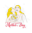girl kissing mother vector image vector image