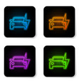 glowing neon electric car and electrical cable vector image vector image