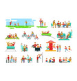 happy family having good time together set of vector image vector image