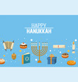 happy hanukkah candles and decoration to vector image vector image
