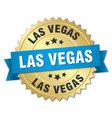 las vegas round golden badge with blue ribbon vector image