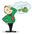 Man dream about money Concept cartoon character vector image vector image
