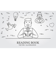 Man Reading A Book And Imagining The Story Think l vector image vector image