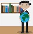 Man with globe vector image