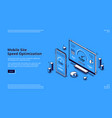 mobile site speed optimization isometric landing vector image vector image