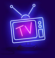 neon tv icon blue on dark vector image