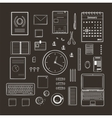 Office Supplies Collection Flat Lines Monochrome vector image