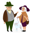 old peple couple with a dog poodle happy vector image vector image