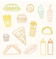 Outline astfood cartoon set vector image vector image
