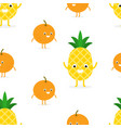 seamless pattern with funny happy pineapple and vector image