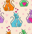 Seamless pattern with pair of lovers cats vector image vector image