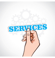 services sticker in hand vector image vector image