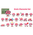 Set of Brain Cartoon Character vector image