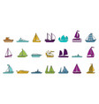 ship icon set color outline style vector image vector image