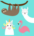sloth alpaca llama flamingo unicorn set cute vector image
