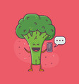 smiling broccoli character messaging vector image