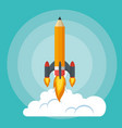 start up launcher pencil rocket vector image