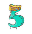 sweet cake number character five vector image vector image