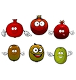 Tropical kiwi and pomegranate fruits vector image