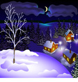 View of landscape of winter town at the night from vector image