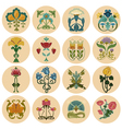 Vintage Flowers Label Set vector image vector image