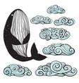 whale and clouds hand drawn clip art vector image