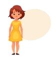 Little girl in yellow dress having chickenpox vector image