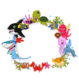 cartoon sea animals with blank sign for you design vector image