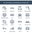 16 automobile icons vector image vector image