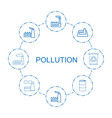 8 pollution icons vector image vector image