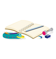 An empty notebook pencils a pencil case an eraser vector image vector image