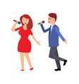 artists woman and man singing song concert vector image