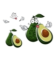 Avocado fruit character and seed with cut vector image
