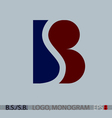 B S or S B monogram logo vector image