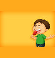 background template design with boy eating vector image vector image